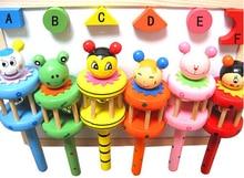 Beste Geburtstagsgeschenk Baby Regenbogen Spielzeug Kind Kinderwagen Krippe Griff Holz Aktivität Glocke Stick Shaker Rassel TOP28