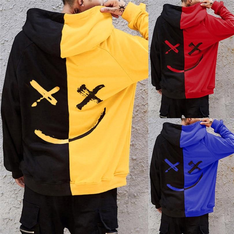 New Fashion Unisex Men Autumn Winter Teen's Smiling Face Fashion Print Hoodie Sweatshirt Jacket Casual Pullover Outwear #4F04
