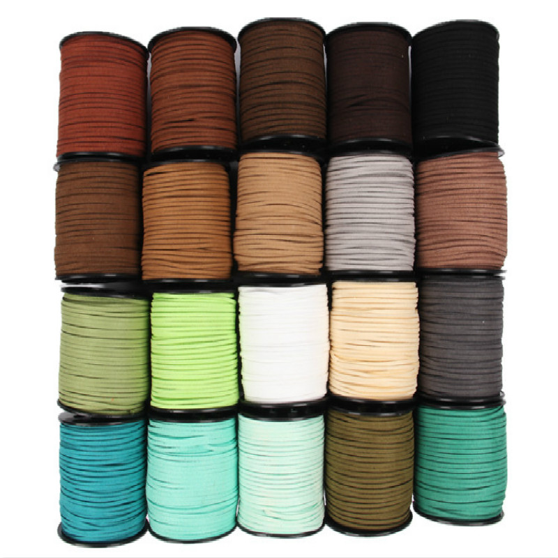 Black White Brown 100Yards 3mm Flat Faux Suede Korean Velvet Leather Cord String Rope Thread Lace Jewelry Finding for Choker DIY