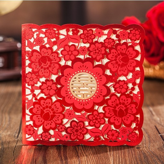 Red Free Printing Chinese Xi Wedding Invitation Cards Square Laser