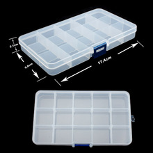 Plastic 15 Slots Compartment Adjustable Jewelry Necklace Transparent Storage Box Case Holder Craft Organizer
