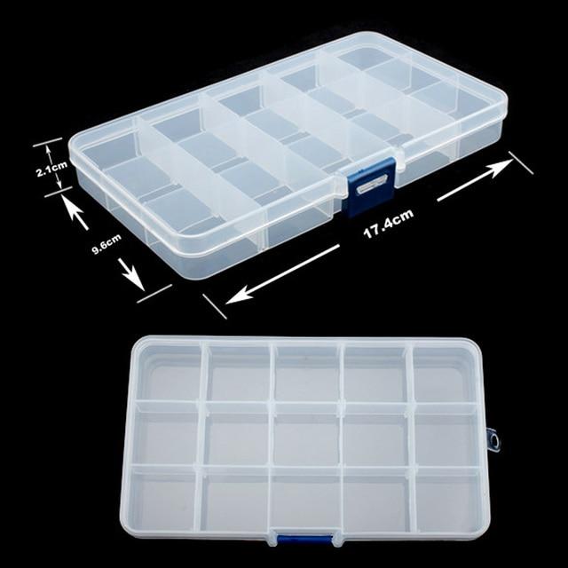 15 فتحات بلاستيكية مقصورة تعديل المجوهرات قلادة شفافة تخزين مربع حالة حامل كرافت المنظم