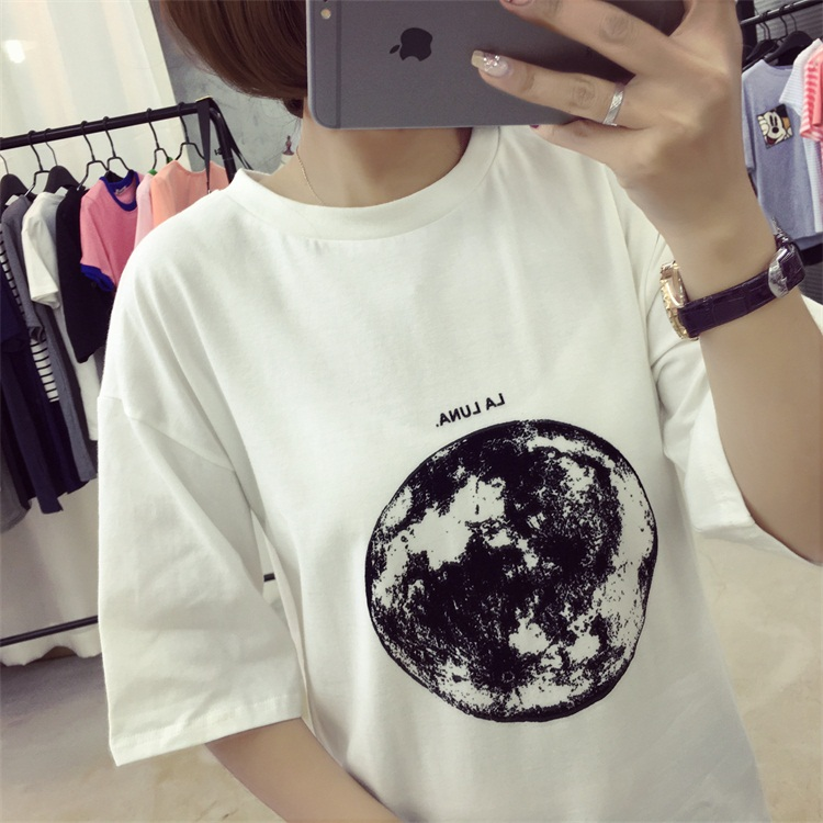 HTB1aQe.PFXXXXbxXpXXq6xXFXXXp - Summer Planet Earth Printed Loose Short Sleeve T Shirts