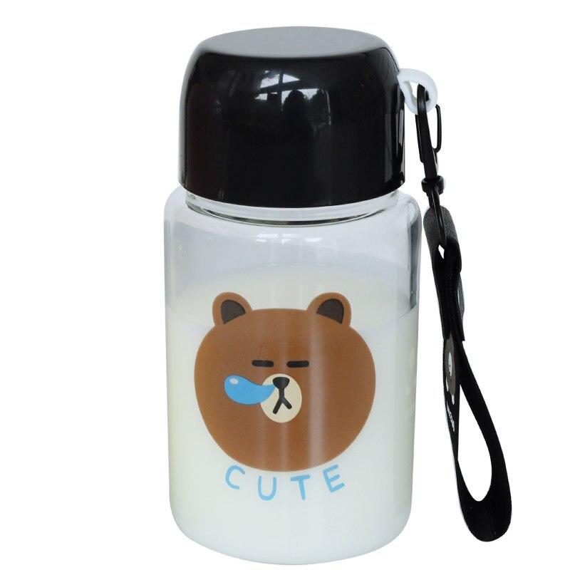 JOUDOO Cute Glass Water Bottle Cartoon Bear Mini Outdoor Bottles Of Water Korea Student Tour Portable Coffee Milk Drinkware 35 in Water Bottles from Home Garden