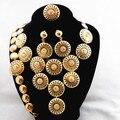 Top Qualidade!! banhado a ouro de Luxo Áustria Cristal Flor Do Casamento Conjuntos de Jóias Africano Conjuntos de Colar de Ouro Da Moda Para As Mulheres