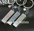 10 pcs/lot Keychain Whistle Keychin Key Ring Key Fob with Crystal Funny Gift Free Shipping