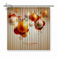 Nyaa Christmas Background Bright Pearl Lanterns Polyester Fabric Shower Curtain For Bathroom with Hooks