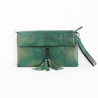 2018 novelty women summer genuine leather day clutch bag female small cowhide green one shoulder bag lady luxury chain flap bag