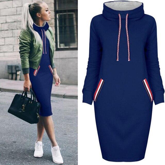 Rimiut New Arrival Autumn Winter Warm Dress 6 Colors Women Pockets Hoodies Sweatshirt Female Slim Hoody Dress 1