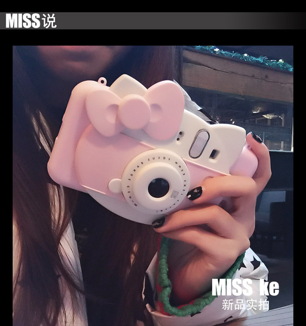 3D Hello Kitty Self-timer Led Flash Light Phone Case for Iphone 6 6s 6Plus 7 7plus Cute Cartoon Tpu Camera back Case Cover
