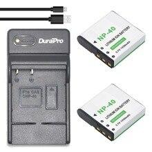 DuraPro 2Pcs NP-40 Battery+Extremely Slim USB Digital Charger for Casio EX-Z400,FC100,FC150,FC160S,P505,P600,P700,Z300,Z600,EX-Z850
