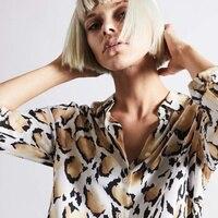 EQ 100% silk long sleeve newest leopard print women blouse ladies shirts