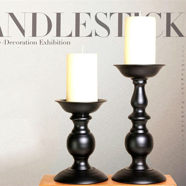 Black Pillar Candle Holders Tealight Stands Europe Style Home Decoration Party Dinner Wedding Supplier
