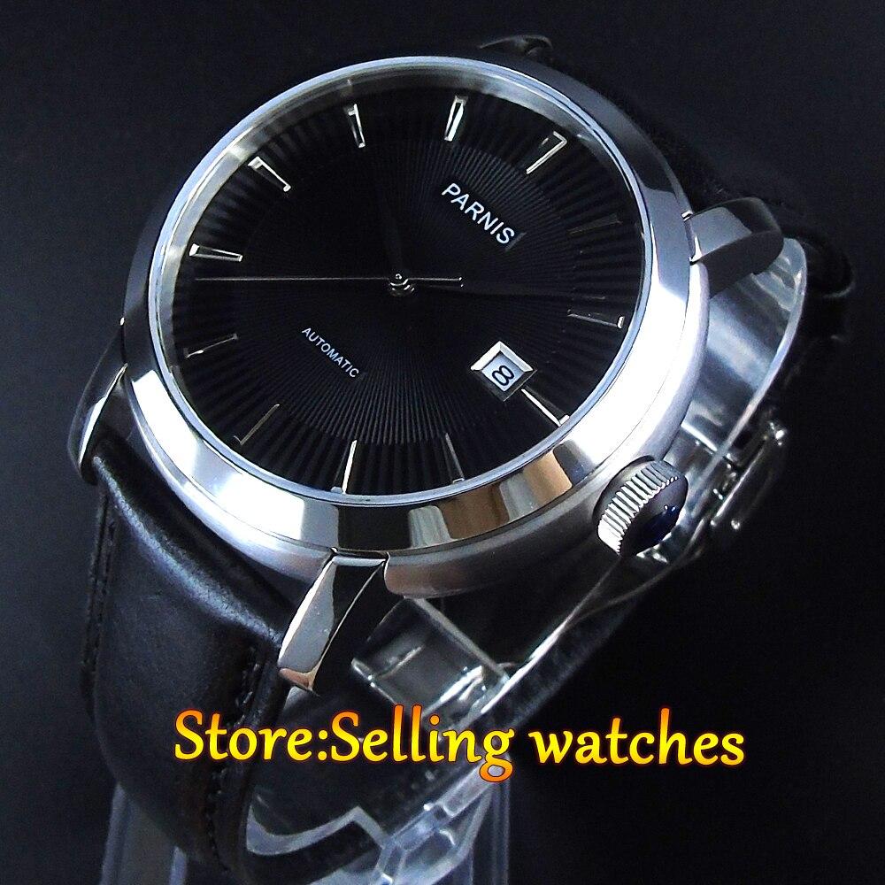 42mm Parnis 21 Joyaux Japon miyota Mouvement Automatique Saphir cristal Hommes Montre-bracelet