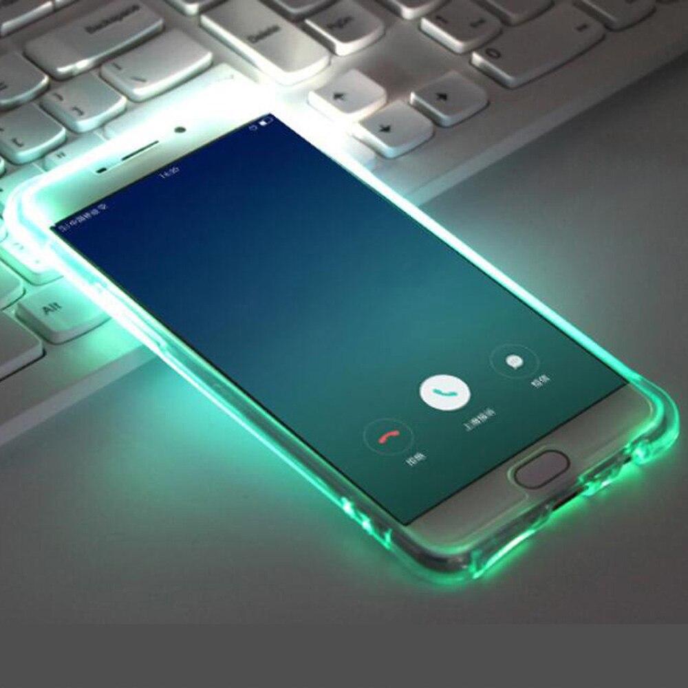 LED Light Flash Clear TPU Case For Samsung Galaxy A3 A5 A7 J3 J5 J7 Prime Smart Calling Glitter Ultrathin Luminous Back Cover