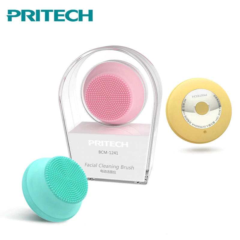 Pritech Electric Silicone Facial Cleansing  Brush Mini USB Charging  Face Cleaner Waterproof Mini Ultrasonic Skin Scrubber MINI