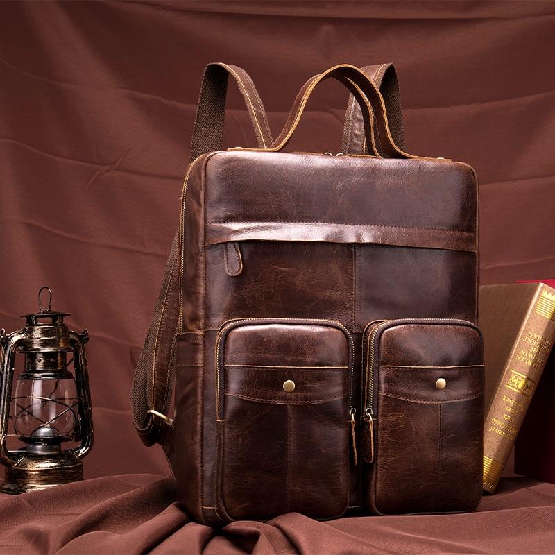 Mens Vintage Genuine leather Men Backpack Male Multifunction 14 Laptop Real Leather School Bag Casual Travel Bag for Man 8207Mens Vintage Genuine leather Men Backpack Male Multifunction 14 Laptop Real Leather School Bag Casual Travel Bag for Man 8207