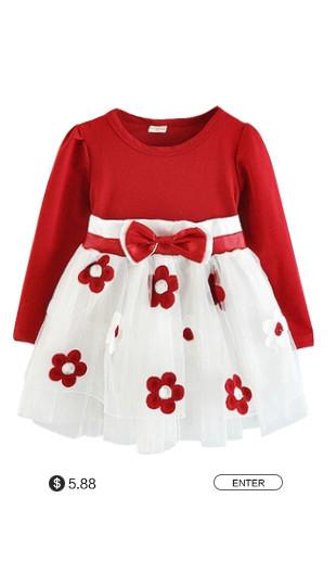 bc3bc407bcd1 Hot Sale Christmas Print Floral Girls Dress 7 Year Old Princess ...
