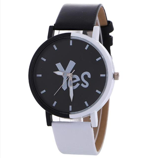 Neutral Watches NEW Black And White Pattern Fashion Leather Quartz Wrist Watch C