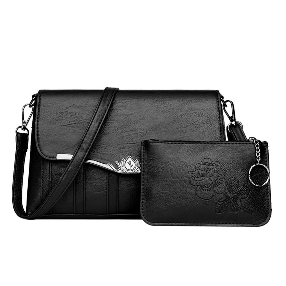 2pcs/Set Women PU Leather Handbag Fashion Composite Purse Elegant Solid Square Crossbody Bag Casual Ladies Evening Party Cluthes