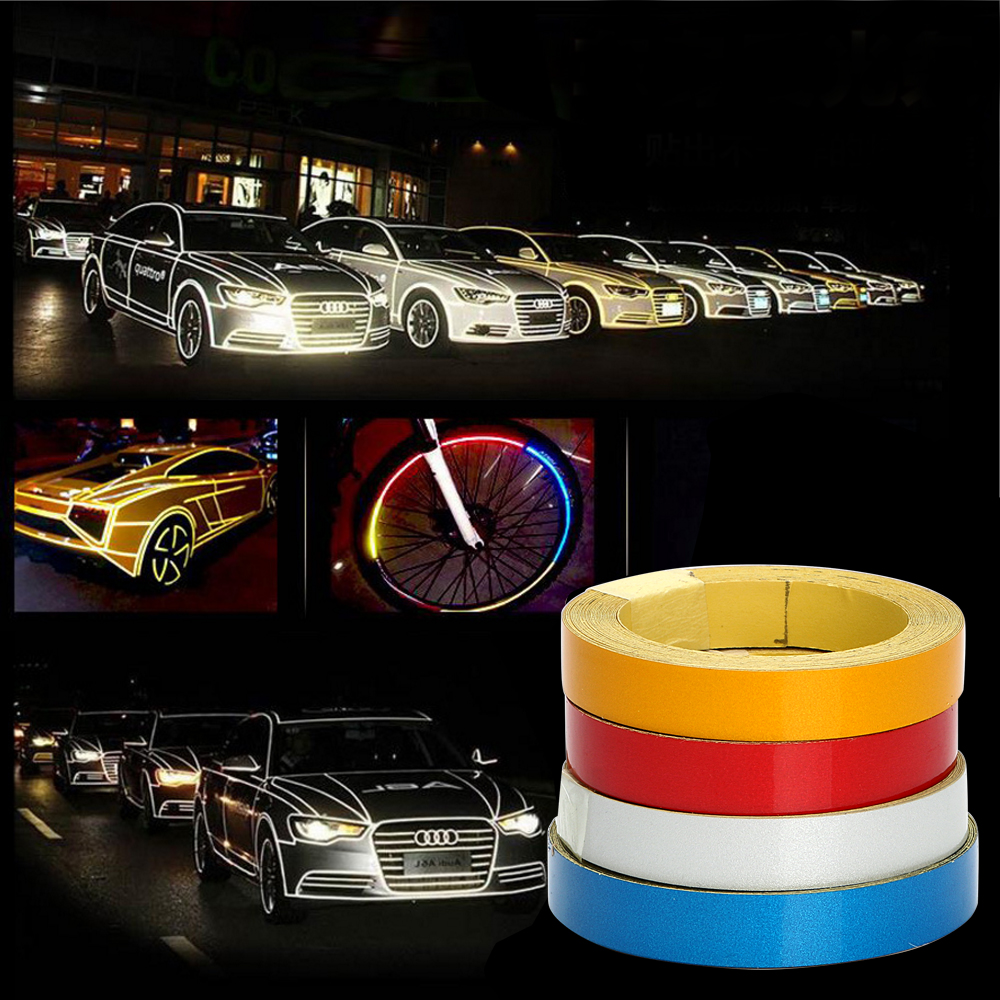 Car Stickers and Decals Reflective Tape Self Adhesive Protective Car Styling Auto Exterior Accessories 4 Colors Car Body Stripe stickers for suzuki jimny car styling jimny sticker auto accessories reflective waterproof vinyl car decals car accessories 1pc