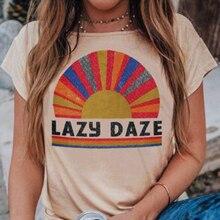 2019 Summer Lazy Daze print women t shirt O-Neck Short Sleeve tunic tops Funny Female korean Harajuku vogue rainbow basic Tee