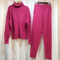 European and American 2018 autumn and winter pure wool suit thick cashmere knitted turtleneck twist sweater two piece pants