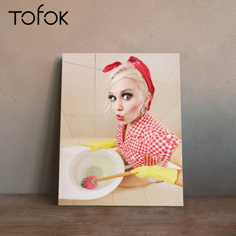 Tofok Creative Bar Toilet Sticker Toilet Wall Decoration S/M/L Canvas Oil Painting Hanging Picture Europe Style Home Dcoration