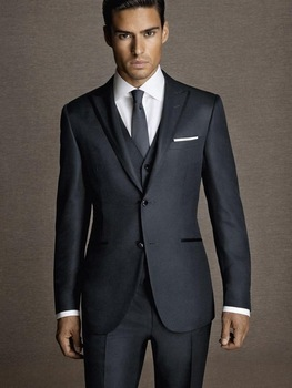 2016 New Arrival Classic Navy Blue MenTuxedos 3 Pieces Wedding Suits For Men Peaked Lapel Groomsmen Suits Slim Fit Men suit