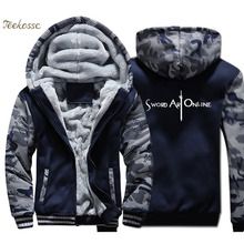 купить Sword Art Online SAO Hoodie Men Harajuku Hooded Sweatshirt Japan Anime Coat Winter Thick Fleece Warm Zipper Camouflage Jacket по цене 1512.35 рублей