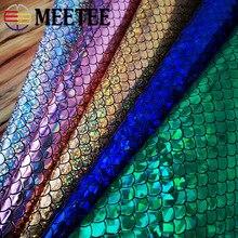 Meetee 45×137 см зеркальные рыбки весы Светоотражающие ПУ ткань для багажа обувь Сумочка украшения DIY аксессуары ручной работы SL202