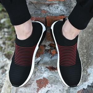 Image 4 - 2019 여름 블랙 스니커즈 플라이 위브 슈즈 남성 슬립 온 통기성 테니스 성인 캐주얼 트레이너 krasovki chaussure homme ayakkabi