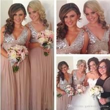 Gold Long Bridesmaid Dresses Sequined V Neck Floor Length Cheap Bridesmaid Gowns 2016 Prom Gown Wedding Party Dress C47