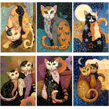 Komplett DIY 5D Diamond Mosaic Cartoon Cat Handgjord Diamond Cross Broderi Set Diamond Broderad Pattern Rhinestones