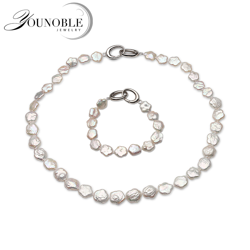Real Natural Keshi Baroque Pearl Necklace Bracelet Jewelry Set Women,wedding White Pearl Set Party Anniversary Gift