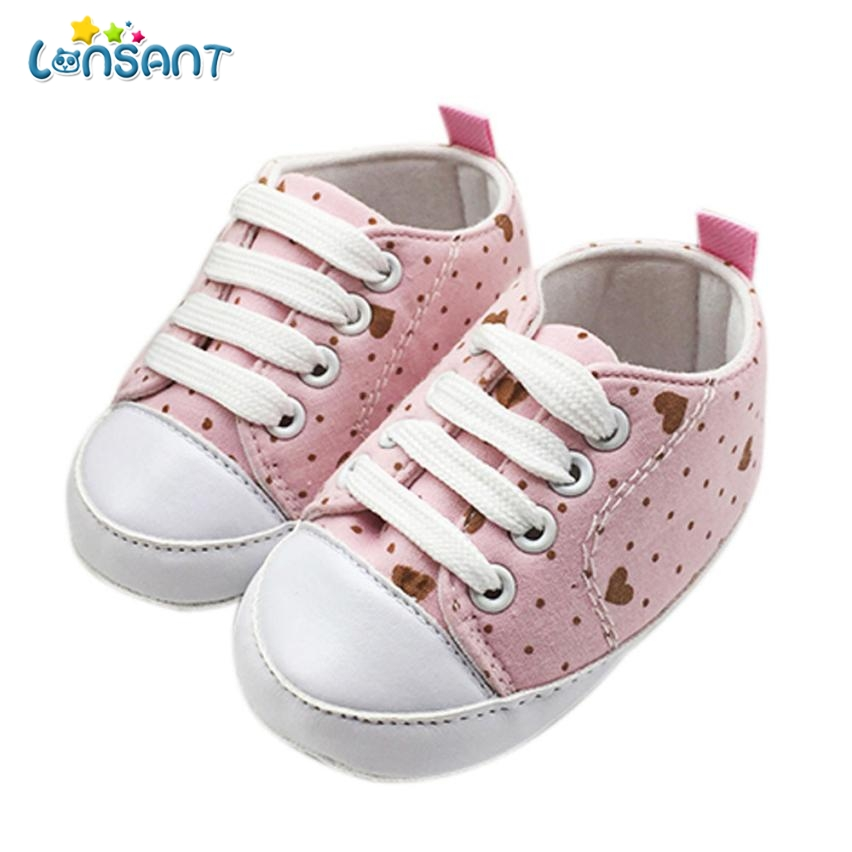 LONSANT 2018 Dot Love Baby Girl Anti-slip Soft Canvas Shoes E1120