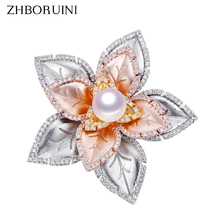 ZHBORUINI Fine Jewelry Natural Freshwater Pearl Brooch Non Fading Tricolor Pins Women Italian Technology