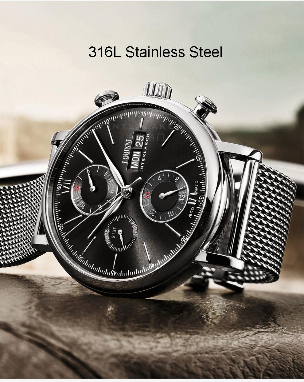 HTB1aQfbVgHqK1RjSZJnq6zNLpXaE Switzerland LOBINNI Men Watches Luxury Brand Perpetual Calender Auto Mechanical Men's Clock Sapphire Leather relogio L13019-6
