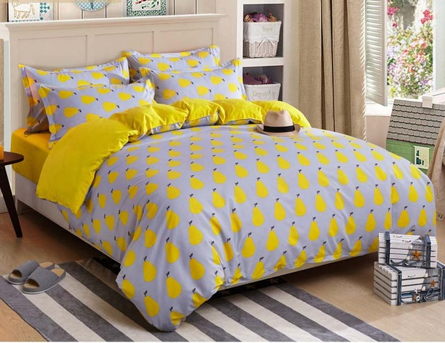 Fruit / Pear Twin Full Queen Size Bed Linen/Bed Fitted Sheet Set Duvet Cover