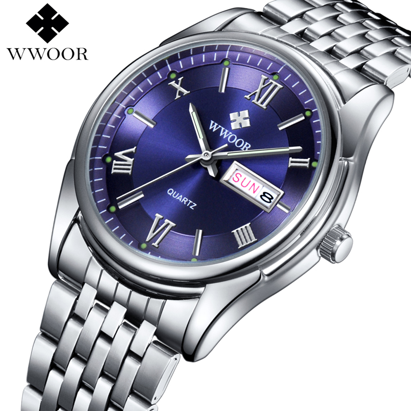 WWOOR Brand Luxury Men Date Stainless Steel Business Watch Men's Quartz Sports Watches Male Luminous Hours Silver Analog Clock men watches top brand luxury day date luminous hours clock male black stainless steel casual quartz watch men sports wristwatch