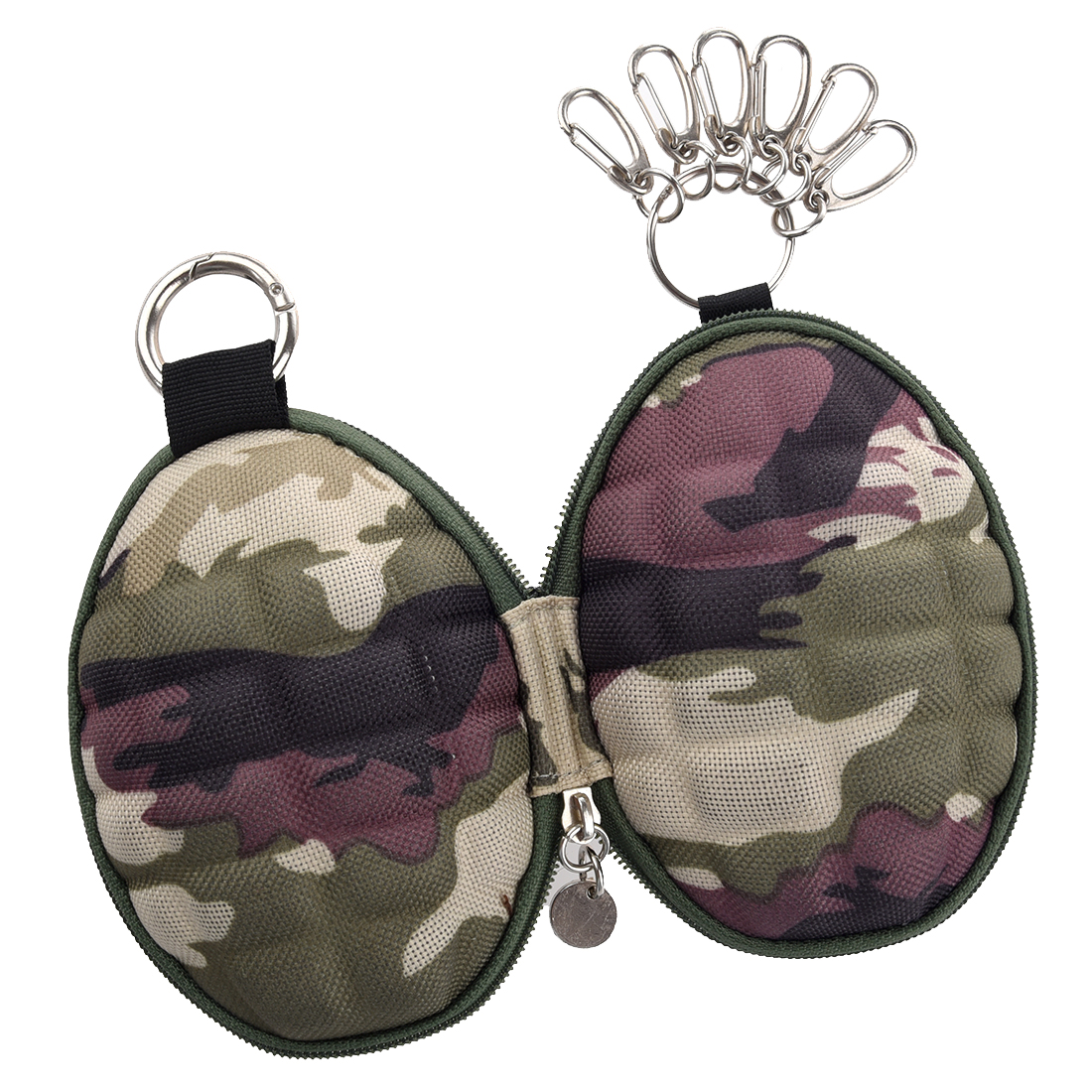 Camouflage Key & Coin Case Duck  Coin Case/ Key Case/Pass Case Carabiner Type With Six Consecutive Ho