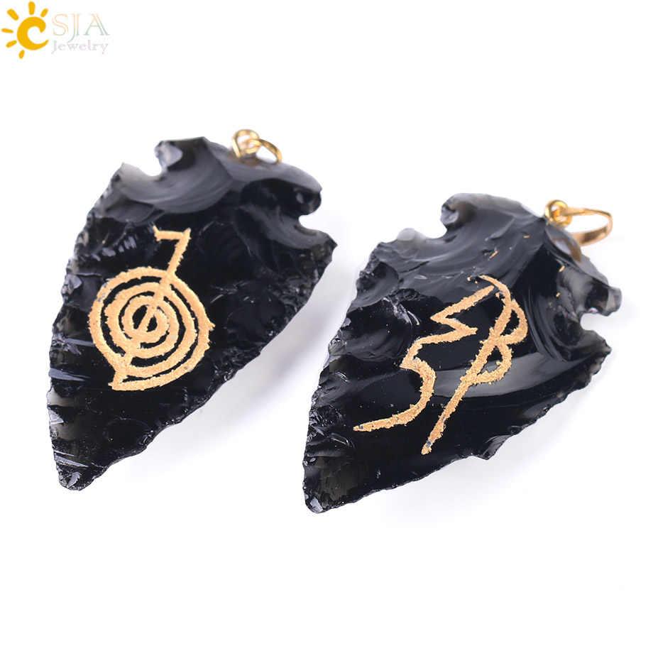 Csja Йога ювелирные изделия для медитации для Для мужчин и Для женщин Чо ку рей Ом Аум Натуральный камень кулон черный обсидиан Рейки Чакра Jewelry F394