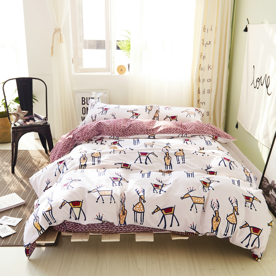 100 cotton cartoon duvet cover set for brown bed sheet pillow casedeer print duvet cover queen king size bedding
