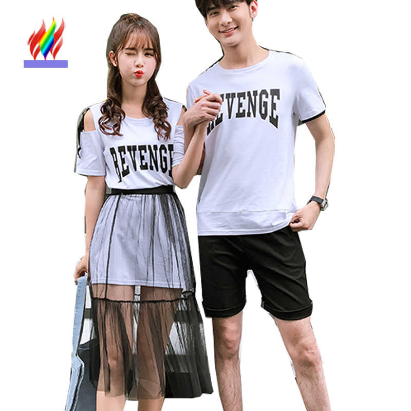 818a7739c0d7 Detail Feedback Questions about Matching Couple Clothes Lovers Preppy Style  Girls Summer Valentine s Date Cute Sweet Letter Two Piece Sheer Off Shoulder  ...