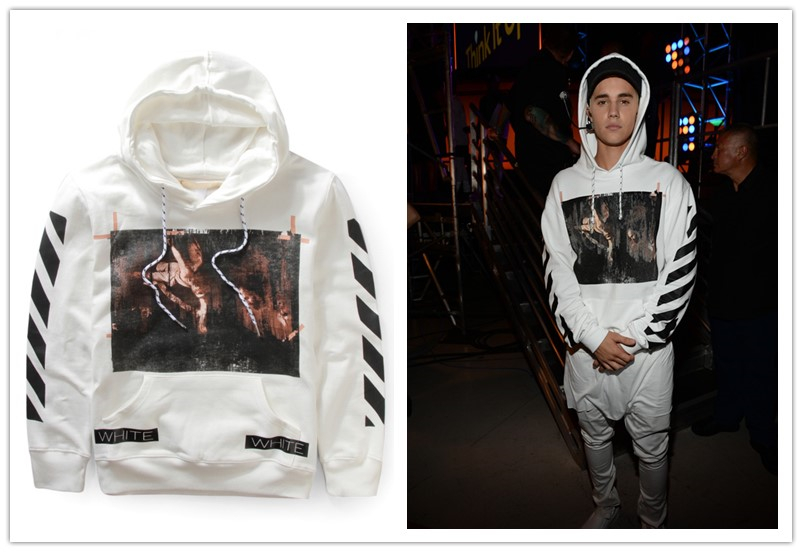 mens hip hop brand clothing OFF WHITE fleece hoodie justin bieber-in ... 48aa9d3b29f1