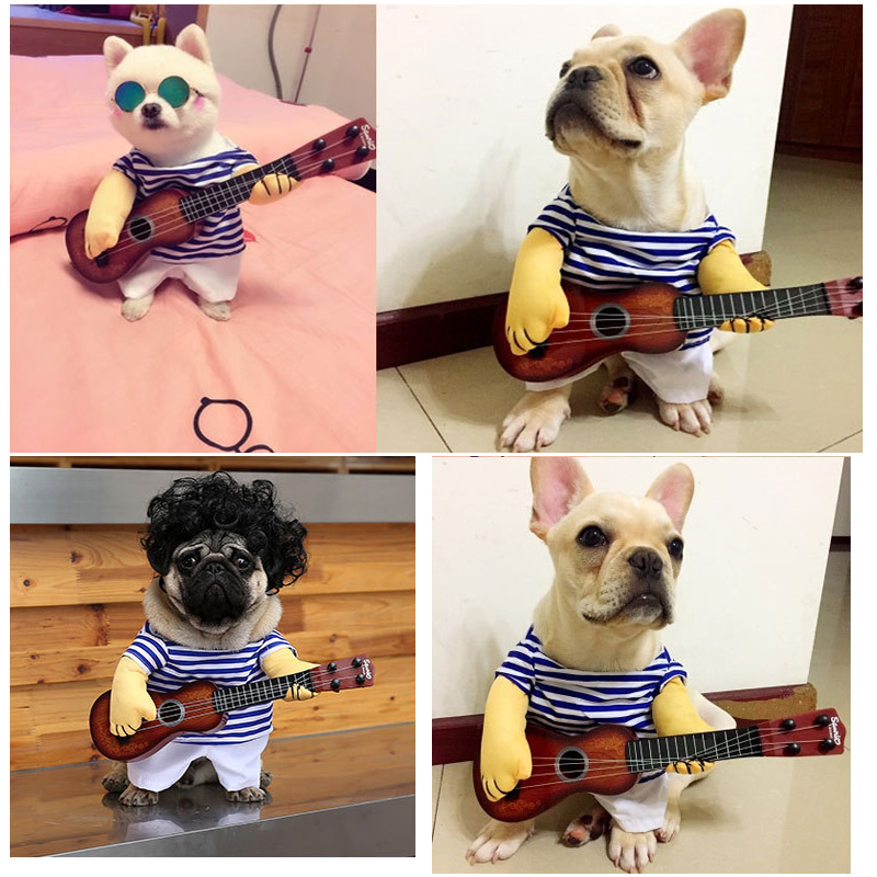 2018 Newest Funny Cat Clothes Costume T-shirt Guitar Rock Singer Cosplay Pets Dags Costume
