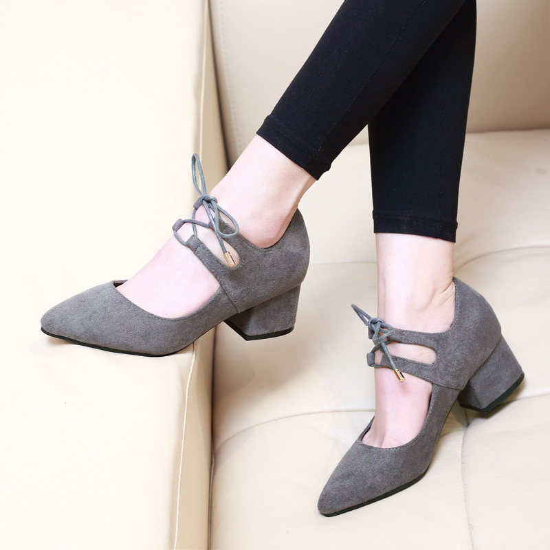 Nice New Spring T Strap Pointed Toe Woman Shoes Sexy Women Pumps Square High Heels Ladies Wedding Shoes Formal Shoes CH A0028 in Women 39 s Pumps from Shoes