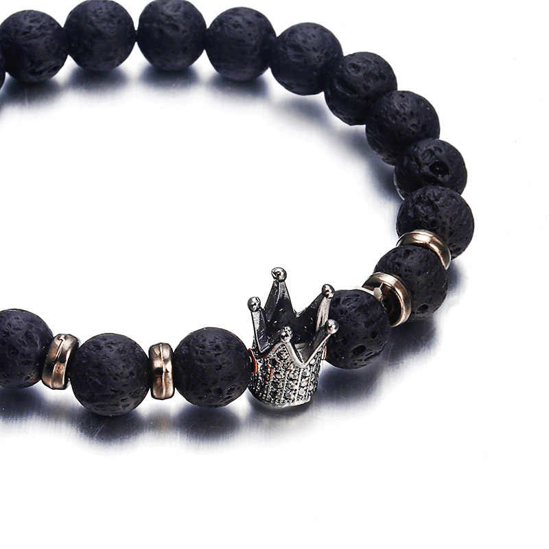 NS63 a la moda de piedra de Lava Pave CZ corona Imperial y el casco encanto pulsera para hombre o mujer pulsera joyería Pulseira hombres