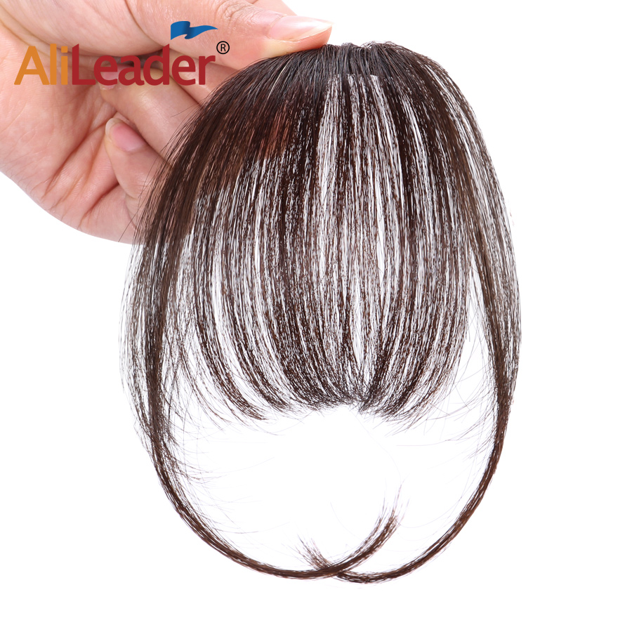 AliLeader Black Brown Blunt Bangs Fringe Natural Hair For Women Air Bangs Synthetic Natural Fake Hair Clip In Hair Extension