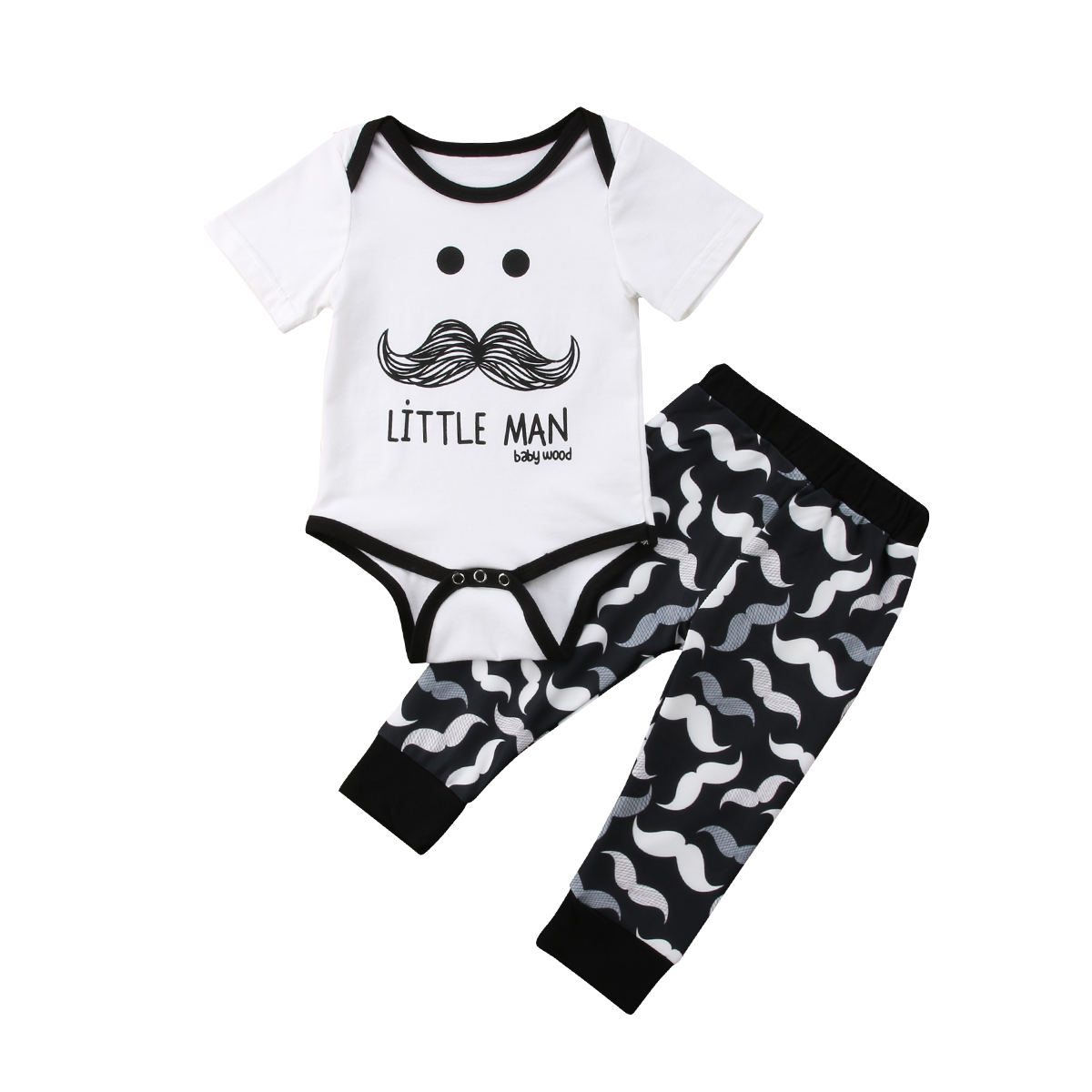 Pudcoco 2Pcs New Newborn Baby Boys Cotton Short Sleeve O-Neck Moustache Bodysuit Long Pants Outfits Set 0-18 Months Helen115